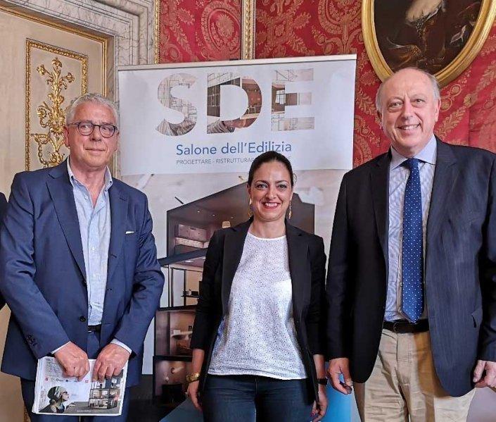 Alessandro Sanesi patron di Exposervice, assessore Valentina Marcanti, il sindaco Tambellini
